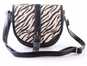 X-P5.2 BAG120-001 PU Shoulder Bag with Animal Print Black 21x20cm