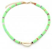 D-E2.1  N1925-009 Choker Surf Beads with Shell 37-43cm Green