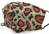 G-A20.5 FM042-035C Glitter Face Mask Leopard - Individually Packed - Gold-Red