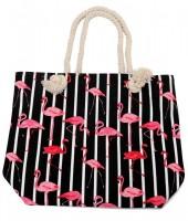 R-I4.1 BAG217-002C Beach Bag with Flamingos Black