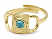 E-B21.3 R110223G S. Steel Ring Turqoise Adjustable Gold