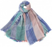 K-A6.2 S002-001 Soft Square Scarf Blocks Blue-Green-Pink 140x140cm