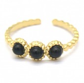 A-B17.4 R2033-006G S. Steel Ring with Stones Adjustable Gold