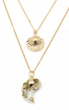 G-C3.1  N304-044 Necklace 2 Layers with Shells Gold