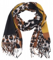 Y-B4.4 SCARF405-025F Soft Scarf Checkered Leopard 180x70cm Brown