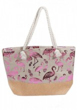 Y-D3.5 BAG217-006 Beach Bag with Wicker and Metallic Flamingos and Pineapples 54x40cm Brown-Pink