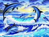 Q-A6.2 S180 Diamond Painting Set Dolphins 50x40cm