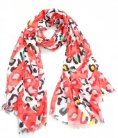 X-K10.1 S314-005 Scarf with Animal Print 180x90cm Red