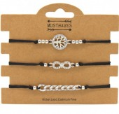 F-F5.2 B316-045 Bracelet Set 3pcs Tree of Life - Infinity - Chain Black
