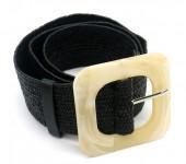 T-I6.2 BELT511-003C PU Belt with Acrylic Buckle 90cmx5.3cm Stretch Black
