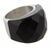 E-F12.1  Stainless Steel Silver Size 17 R004-038 Black StoneE-F12.1  Stainless Steel Silver Size 17 R004-038 Black Stone
