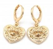B-E3.1 E426-006 Earrings 10mm with Heart 14mm Gold