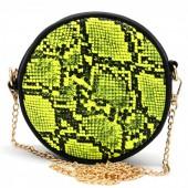 T-I6.1 BAG322-001 Combination Bum-Shoulder Bag Snake incl Belt 14x14x6cm Yellow