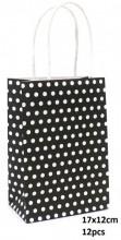 Q-N7.2  PK525-005B Paper Giftbag Dots 17x12cm Black-White 12pcs