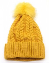 T-F4.1 HAT003-003F Hat with Fake Fur Pompon Yellow
