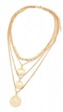 B-E4.3 EN223-007 Layered Metal Necklace with Coins Faith Gold