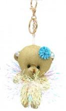 S-E7.4 KY2035-003D Keychain Glitter Bear 12cm Gold