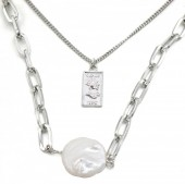 C-D9.2 N426-013S Layered Necklace Chain with Pearl Silver