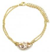 E-D1.1 B2121-008G S. Steel Bracelet Shell Leopard Gold