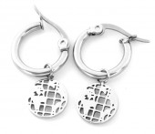 A-D17.3 E1901 Stainless Steel 12mm Earrings with 10mm World Map Silver