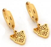 A-D5.3 E1842-010 Stainless Steel Earrings Leopard Gold 10mm with 10mm Charm
