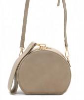 Y-C1.1 BAG215-001 Round PU Bag with Large Handle Khaki 18x15x9 cm