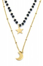 N519-001 Layered S. Steel Necklace Glassbeads-Star-Moon Gold
