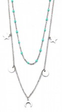 F-E4.1 N317-007 Layered Stainless Steel Necklace Beads-Stars-Coins-Moon