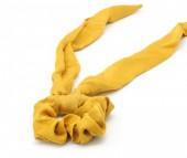 S-C6.1 H305-007 Scrunchie with Ribbon Velvet Yellow