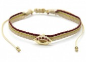 D-C10.1 B220-011G Rope Bracelet with S. Steel Kiss Gold