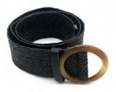 T-D6.2 BELT511-002C PU Belt with Acrylic Buckle 90cmx5cm Stretch Black