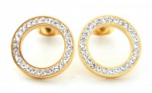 E-F7.1  E410-003 S. Steel Earrings Crystal Circles 15mm Gold