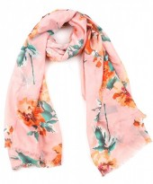 X-D3.3  S313-005 Scarf with Flowers 90x180cm Pink