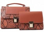 L-C4.1 BAG419-001A PU Bag Set Snake 2pcs 26.5x19x8.5cm Brown