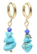 B-F20.1  E301-067G S. Steel Earrings with Stones 1.2x3cm Blue