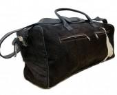 Leather Cowhide Duffle Bag 60x25x25cm Black Mixed Colors
