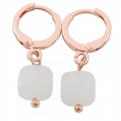 B-B6.2 E426-004 Earring 10mm with 8mm Glass Charm Rose Gold