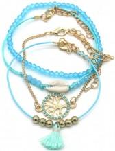 G-A17.5 B538-006 Bracelet Set 4pcs Tree of Life - Shell Blue