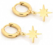 C-C2.2  E1842-003 Stainless Steel Earrings Northern Star Gold 10mm and 13mm Charm