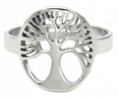 B-D19.4 R519-005S S. Steel Ring Adjustable Tree of Life Silver