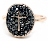 B-D7.6 R532-003R Adjustable Ring Cross with Crystals Rose Gold