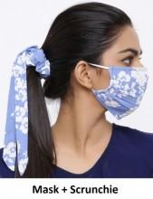 Face Mask with Scrunchie Set - Washable -  Flower - Blue
