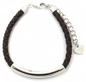 D-A18.3 SB105-050B 925S Silver Bracelet Leather Brown
