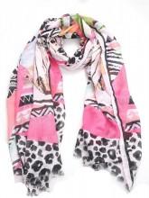 X-O3.1 S314-003A Scarf Leopard-Feathers-Aztek 100x180cm Light Pink