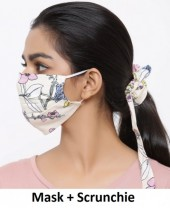 R-E3.1 Face Mask with Scrunchie Set - Washable - Flower - Beige