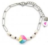 F-B6.1 B2126-022S S. Steel Bracelet Heart and Pearls Silver