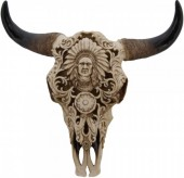 Polyester Skull with Indian Engravings 37x37cm