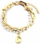 E-C17.5 B2019-002G Metal Chain Bracelet with Pearls Gold