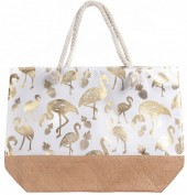 Y-A1.4 BAG217-004 Beach Bag with Wicker and Metallic Flamingo Print 54x40cm White -Gold