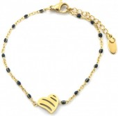 F-C19.2  B301-027 S. Steel Bracelet with Black Dots and 10mm Heart Gold